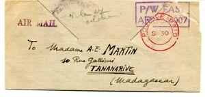 """Tanganyika 1943 stampless Prisoner War Air Mail Letter Sheet """"007"""" to Madagascar"""