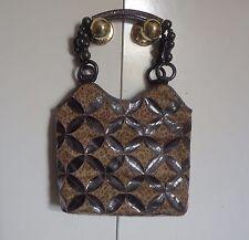 Bueno Brown Leather & Tan Animal Print Purse