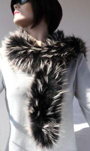 Fur Scarf Boa 2in1 Loop Stole Hose Coat Trim Fashion Black Silver White