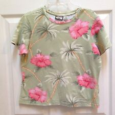 Caribbean Joe Cotton Shirt size Medium Top Green & Pink Hibiscus Cruise Hawaiian