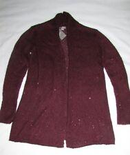 $129 NEW JJill Open Front Cardigan Long Sleeve Sequins Burgundy Sz XS P