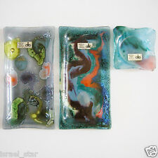 Israel Fused Art Glass 2 Trays & Ashtray Handmade by Andreas Meyer Vintage