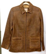 VGUC The Territory Ahead Men's Size S Distressed Design Brown Leather Jacket MS