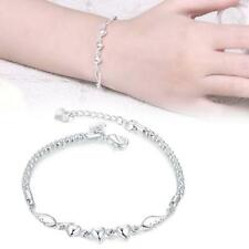 Fashion 925 Sterling Silver Women Love Heart Beads Bracelet Bangle Jewelry GJ