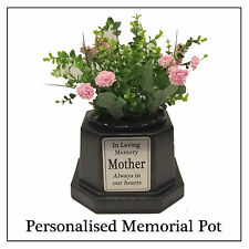 Personalised Grave Pot - Flower Memorial Vase Black with Silver Plaque -Any Text