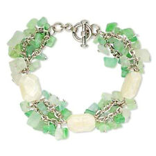 Bead Bracelet Green Cats Eye Glass Chip Drops Chain 7.5 inch Jewelry