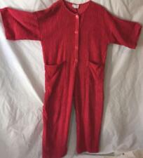 Clovis Ruffin Vintage RED Chenille PAJAMAS PJ'S  One Pc  Jumpsuit Medium Rare!