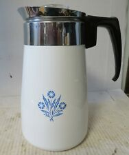 Vintage CORNING WARE Stovetop Percolator Coffee Pot Cornflower 9 Cup Complete