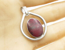 925 Sterling Silver - Vintage Blood Stone Cameo Drop Pendant - P1009