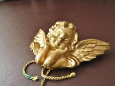 Vintage Ceramic Gold Tone Angel - Vintage Wall Hanging, Home Decor