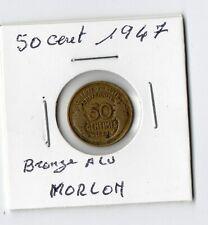 50 Centimes Morlon Bronze Alu 1947 Très Très Rare