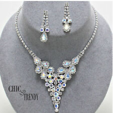 CLEARANCE AURORA BOREALIS CLEAR CRYSTAL WEDDING FORMAL NECKLACE JEWELRY SET