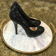 Olsenboyle Sz 6.5 M Black Sequins Platform Pumps High Heels Cute