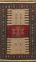Traditional Tribal Kilim Geometric Oriental Area Rug Flat-Weave Wool Carpet 4x6