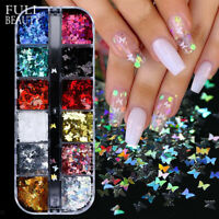 12 Farbe Nail Art Glitter Schmetterling Paillette Folien Flakes Nagel Dekoration