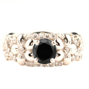 925 Silver & 1.85Ct Round Cut 100% Natural Black Diamond Solitaire Women's Ring