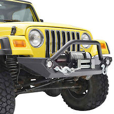 Front Bumper Guard D-Ring Winch Plate LED Lights For 87-06 Jeep Wrangler YJ TJ