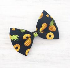 Negro Con Amarillo Piña Impresión Pin Up Clip Cabello Moño
