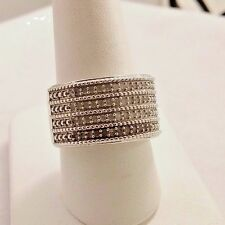 WIDE STERLING SILVER & 0.5 CT DIAMOND RING BAND. SIZE 8
