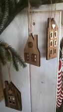 HOME KONTOR XMAS 3 x Haus Holz Anhänger Landhaus Deko Landhaus braun 8-11cm Neu