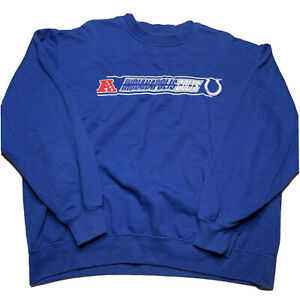 NFL Team Apparel Indianapolis Colts Embroidered Spellout Crewneck Sweatshirt L