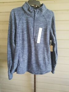 St. John's Bay Blue Sweatshirt Fleece Stretchy 1/2 Zip Plus XXL Pockets NWT