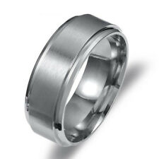 Stainless Steel Titanium Wedding Engagement Band Ring Black Silver Gold Sz 7-12