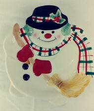 Fitz & Floyd Gift Gallery Snowman Cookie Canape Dish Plate Wall Hanging Platter