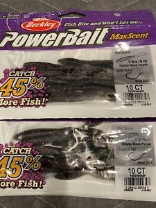 Berkley PowerBait MaxScent Flat Worm- 2 New Packs Smoke Black Purple