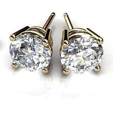 1.00 Ct Diamond Earring Stud Real 14K Yellow Gold Round Cut VVS