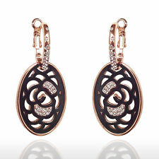 Narlino 18k Rose gold black round oval swarovski crystal hanging earrings