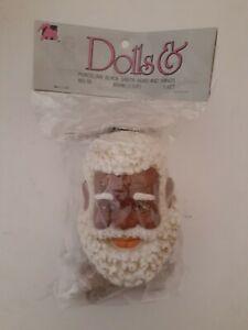 """Vintage 1993 Mangelsen's 3-3/8"""" Porcelain Black Santa Head and Hands 163-50"""