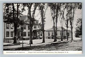 New Hampton NH, Draper Hall, Gordon Nash Library Vintage New Hampshire Postcard
