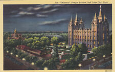 Linen Postcard A858 Mormon Temple Square at Night Salt Lake City Utah Curteich