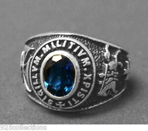 925 Sterling Silver September Blue Birthstone Knights Templar Men Ring Size 12