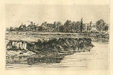 "Seymour Haden original etching ""Bit of a River Bank"""