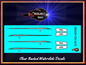 """HO Scale """"'70 Nova White Stripes"""" Decal Set SCR-HO-0005B"""