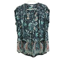 DR2 Women's Plus Size 3X Floral Short Sleeve V-Neck Blouse Boho