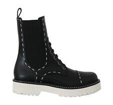 DOLCE & GABBANA Shoes Black Leather Chelsea Biker Boots s. EU38 / US7.5 RRP $900