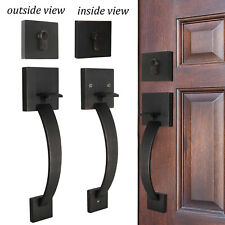 Exterior Front Entry Door Handle set 2sides Oil Rubbed Bronze Square Lock 3 keys