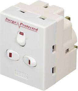 3 Way Triple Mains Switched Adapter 13A Plug Neon Block Socket Splitter Surged