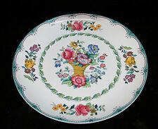 Plate Porcelain Floral Signed Spode England Basket of Flowers Multi Colored Teal