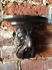 Antique Carved Oak Green Man Corbel Wall Shelf 17th Century Carving