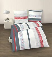 Bettwäsche Set 2 tlg. rot weiß grau 135x200 cm (80x80 cm)