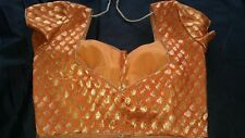 Designer lehenga sari blouse choli brocade bridal burnt orange halter net lace