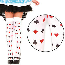 White Thigh Highs Stockings Playing Cards Queen of Hearts Halloween Costume OS