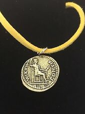 "Denarius Of Tiberius Coin WC60 English Pewter On a 18"" Yellow Cord Necklace"