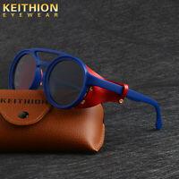 KEITHION New Vintage Outdoor Steampunk Unisex Retro Round Polarized Sunglasses