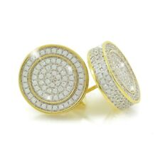 "Mens 14k Gold Plated Sterling Silver 1/2"" Large  MicroPave Lab Diamonds Earrings"