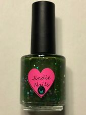 NEW JINDIE NAILS NAIL POLISH SMELLS LIKE GREEN SPIRIT GLITTER LACQUER INDIE